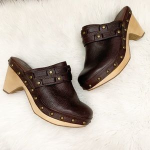 Lucky Brand Leather Mali Studded Clog Brown 8